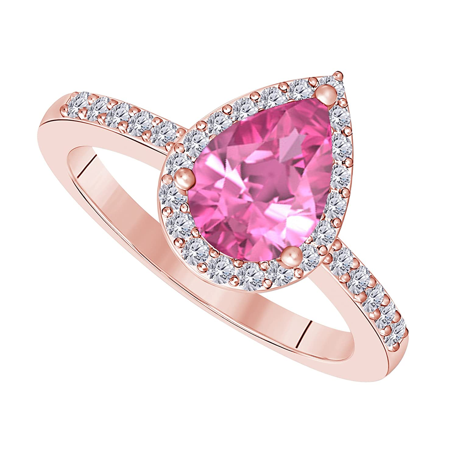 Amazon.com: 3 Carat Pear Shape Lab Created Pink Sapphire Cubic ...