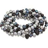"""7-Piece Black, Peacock, Silver Grey Dyed Freshwater Cultured Pearls Stretch Bracelet Set, 7.5"""""""