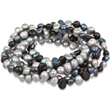 """Amazon Price History for:7-Piece Black, Peacock, Silver Grey Dyed Freshwater Cultured Pearls Stretch Bracelet Set, 7.5"""""""
