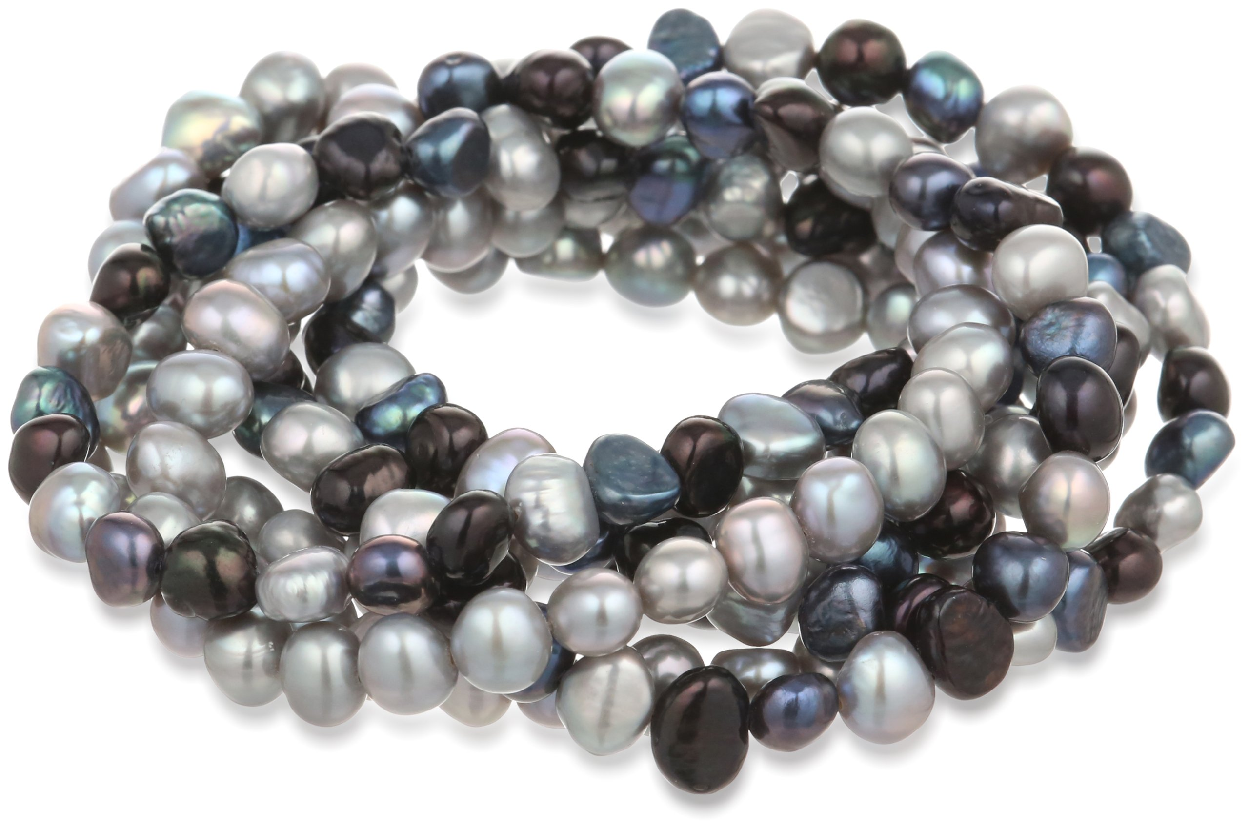 7-Piece Black, Peacock, Silver Grey Dyed Freshwater Cultured Pearls Stretch Bracelet Set, 7.5''