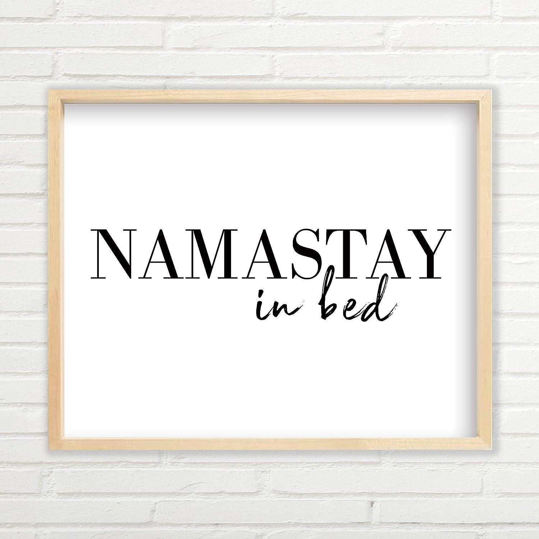 Amazon com: Namastay In Bed Wall Art - Yoga Wall Art (11