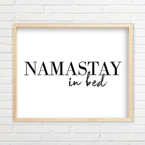 Amazon Com Namastay In Bed Wall Art Yoga Wall Art 11 X17