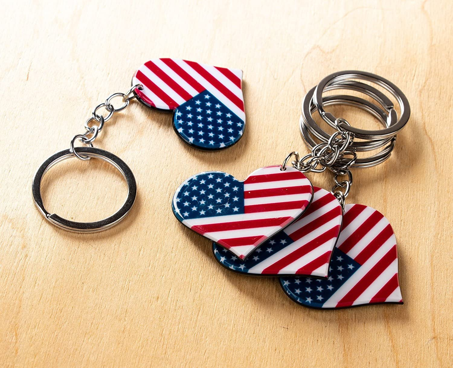 1.6 x 3.5 x 0.1 Inches 24 Pack Patriotic US Keyrings Labor Day and Veterans Day Festivities Souvenir Gifts for 4th of July American Flag Keychain