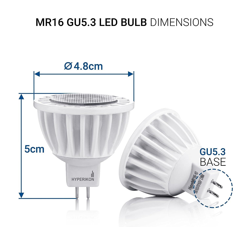 Hyperikon Bombillas LED GU5.3 - MR16 7W - Blanco Neutro (4000K) - Iluminación de Techo para Cocina, Oficina, o Baño - Paquete de 4: Amazon.es: Iluminación