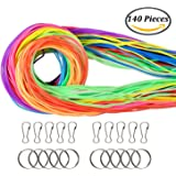 Coobey 140 Pieces Scoubidou Strings Plastic Lacing Cord with Snap Clip Hooks and Keychain Ring Clips for Jewelry Making DIY Craft Gimp String, 394-Feet,12 Colors