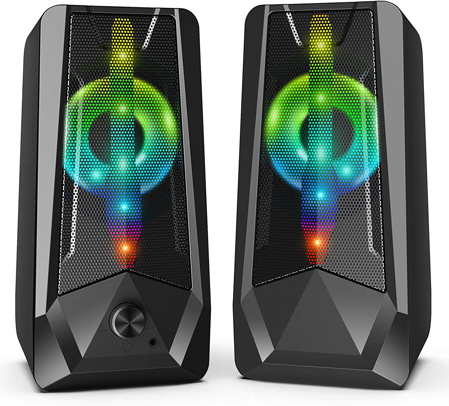 16W PC Gaming Speakers Imdwimd USB Wired Computer Speakers with Enhanced Stereo Colorful 6-Modes RGB Light, Dual-Channel Gaming Speakers for Desktop Tablet Computer Laptop Small TV (8Wx2)