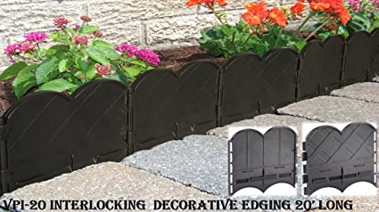 Valley View VPI 20 Interlocking Decorative Lawn Edging, 20u0027, Black