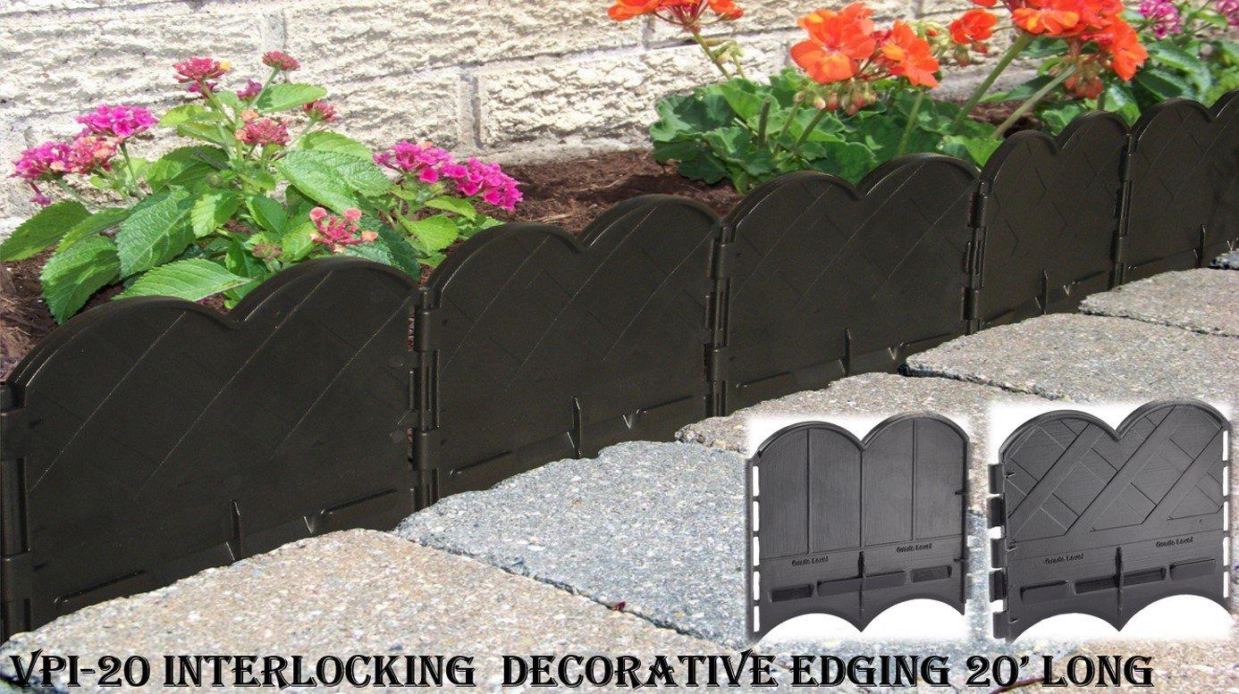 Valley View VPI-20 Interlocking Decorative Lawn Edging, 20', Black