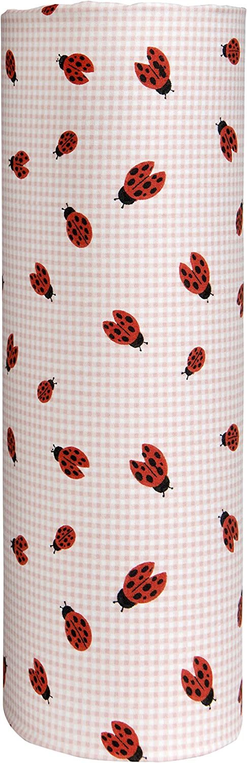 Cuddles & Cribs 1 Pack GOTS Certified Organic Cotton Fitted Crib Sheet - Pink, Ladybugs