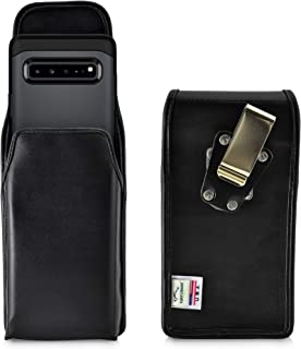 product image for Turtleback Belt Case Designed for Samsung Galaxy S10 5G (2019) Vertical Holster Black Leather Pouch with Heavy Duty Rotating Belt Clip, Made in USA