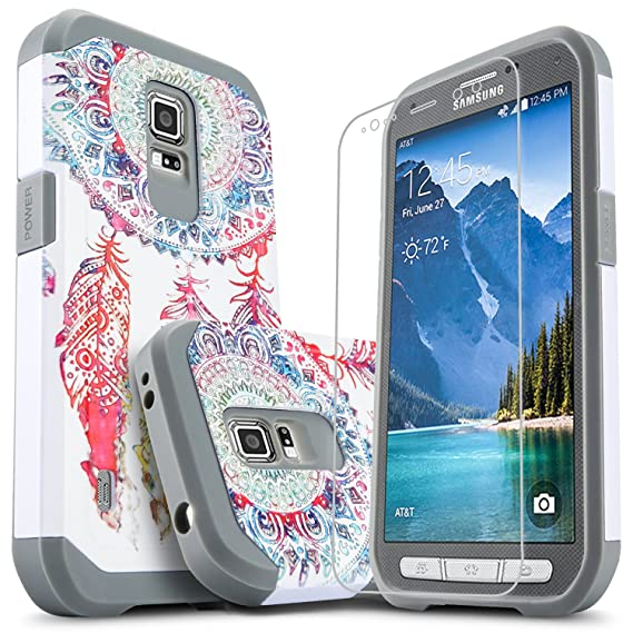 sale retailer eaab3 eba5b Galaxy S5 Active Case, [Not Fit Galaxy S5] Starshop [Shock Absorption] Dual  Layers Rugged Armor Phone Cover with [Premium HD Screen Protector ...