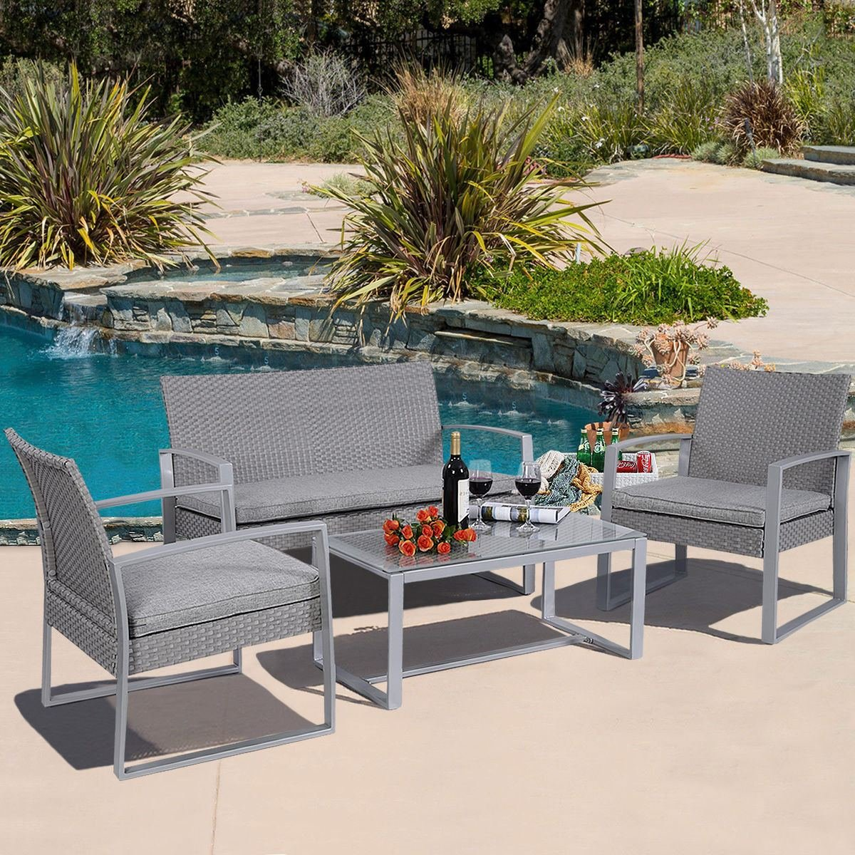 white pleasant outdoor wicker furniture set patio