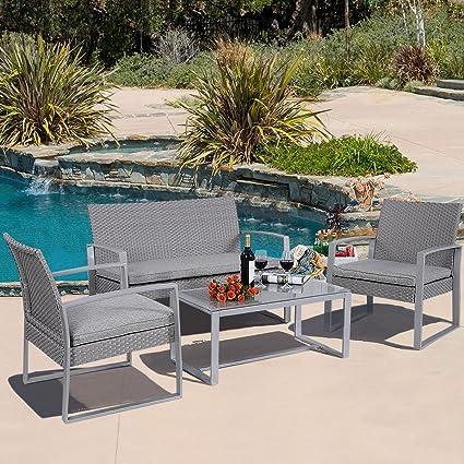 Amazon.com: 4 pieza asiento acolchado Muebles de jardín de ...