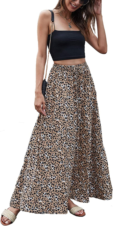 Bluetime Women Leopard Print Long Skirts Chiffon Summer Beach Pleated Elastic High Waisted Maxi Skirts