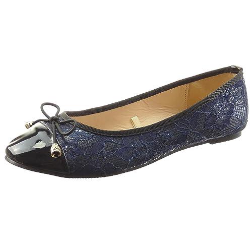 Sopily - Zapatillas de Moda Bailarinas Tobillo mujer patentes Talón Tacón ancho 0.5 CM - Azul CAT-5-SH204 T 37 Ss6fGNWB