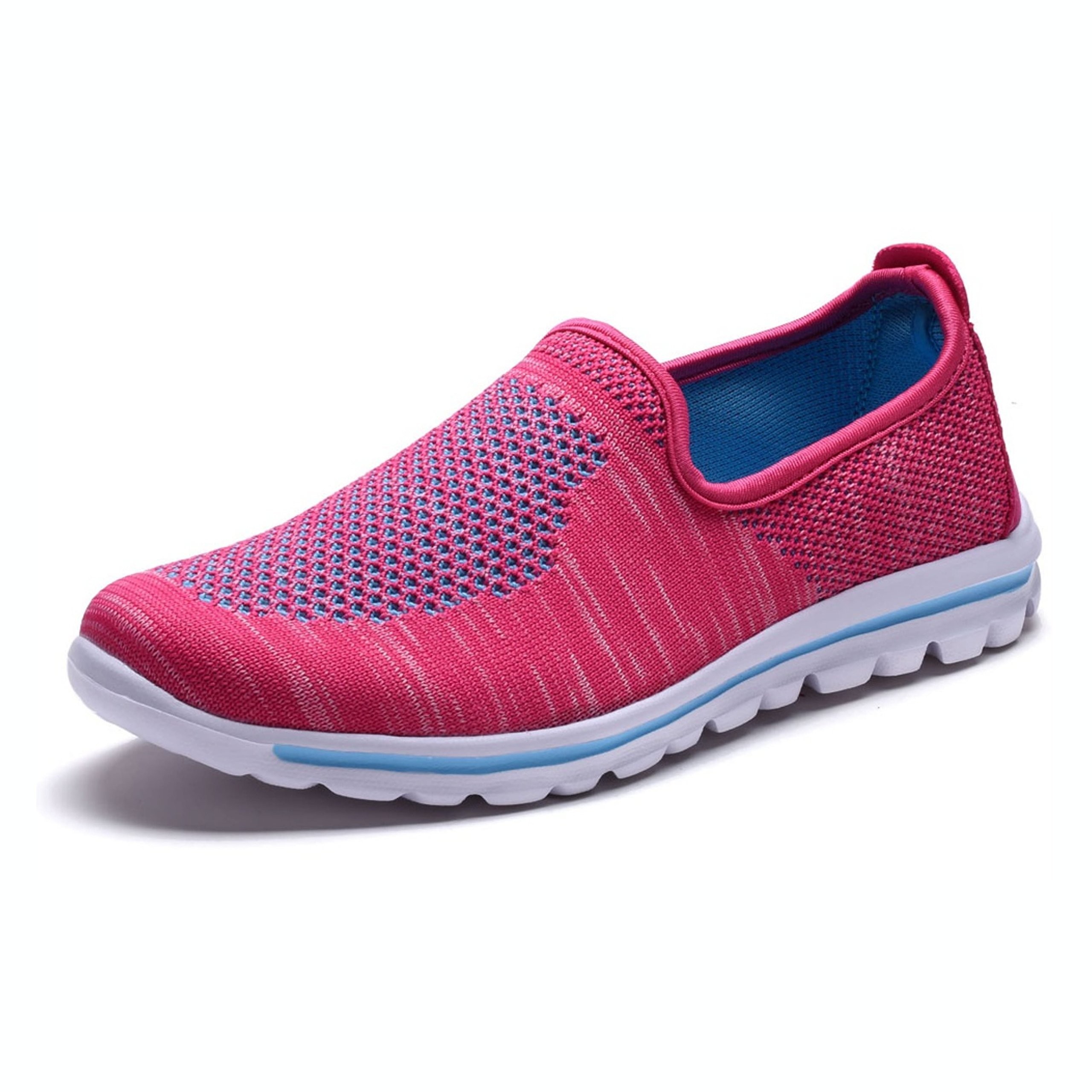 DailyShoes Women's Fit Mesh Slip-on Style Walking Shoes with Memory Foam Insoles- Breathable Mesh - Durable Soles - Reliable Traction - Perfect for Walks and Jogs, Fuchsia Mesh, 8.5 B(M) US