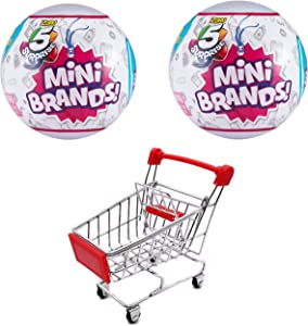 Year Round Gifts 4 You 5-Surprise Mini Brands Collectible Capsule Ball by Zuru - Bundle with Miniature Red Shopping Cart and 2 New and Sealed Mini Brand Balls