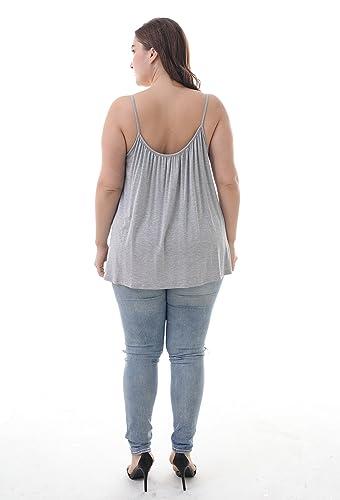 ea0e7fabe0c05 ZERDOCEAN Women s Plus Size Flowy Swing Spaghetti Strap Camisoles Tank Top  at Amazon Women s Clothing store