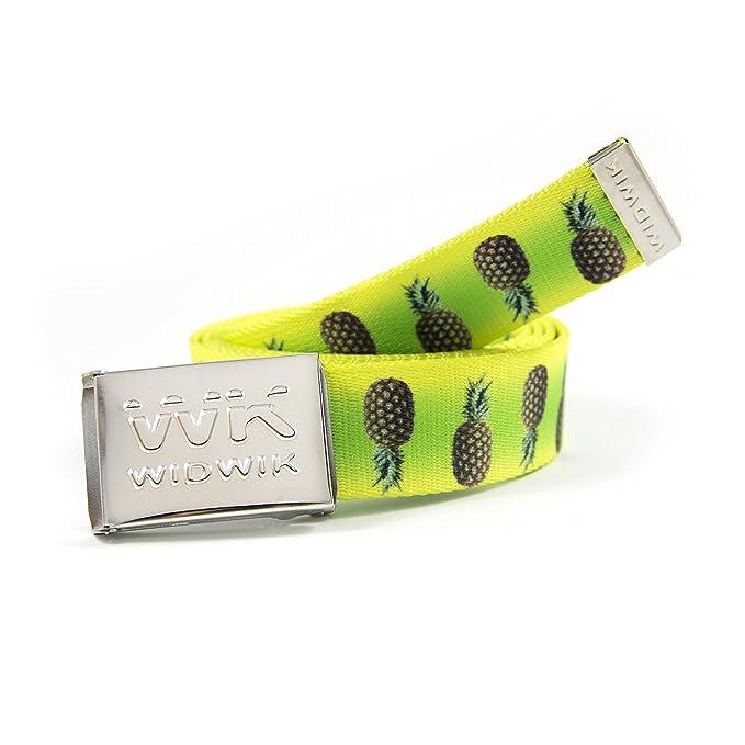 WK WIDWIK Cinturón verde amarillo con estampado de Piñas, cinto fresco y alegre de Widwik