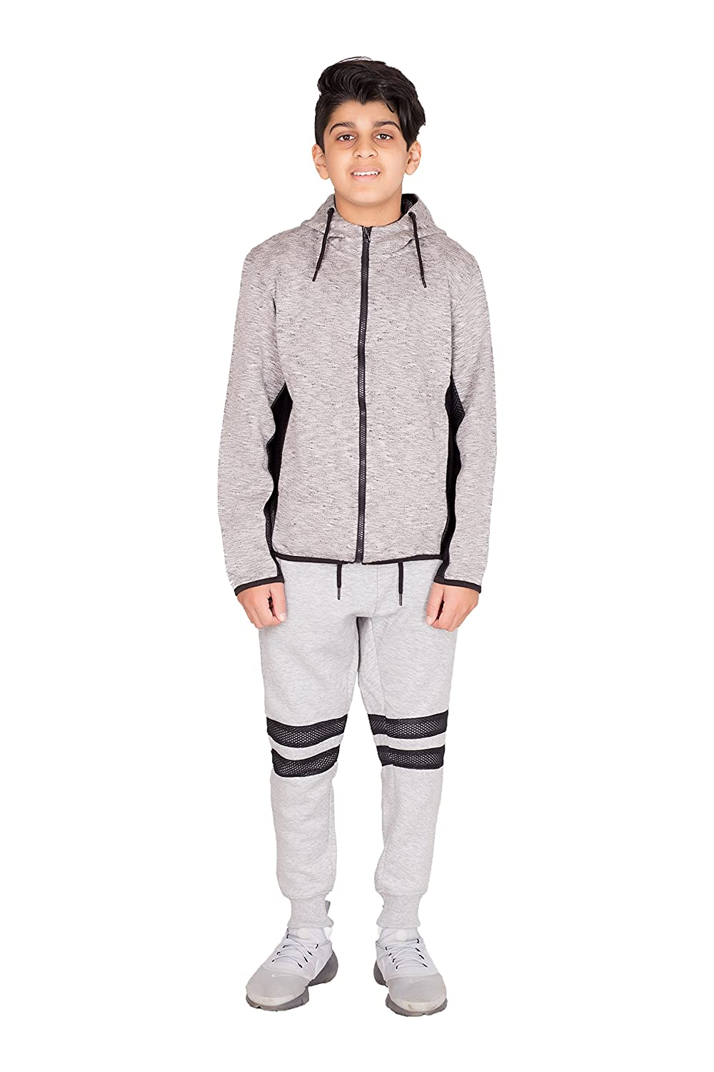 Noroze Boys Marl Side Mesh Tracksuit Kids Hoodie & Bottoms Set 7-8 Years) A1250-12