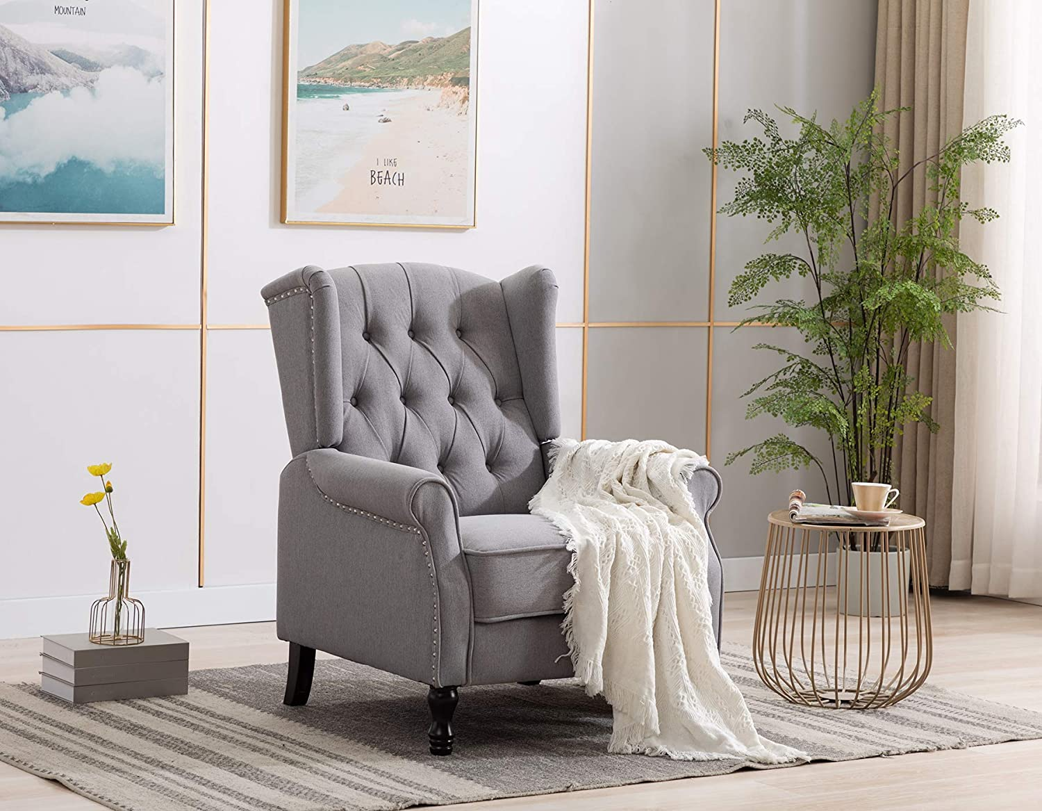 Artechworks Winged Fabric Modern Accent Chair Tufted Arm Club Chair Linen Single Sofa with Wooden Legs Comfy Upholstered for Reading Living Room Bedroom Office,Grey