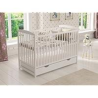 Cuna de madera para niños (blanco) con cajón 120 x 60 cm + colchón de espuma + barrera de seguridad de madera + funda…