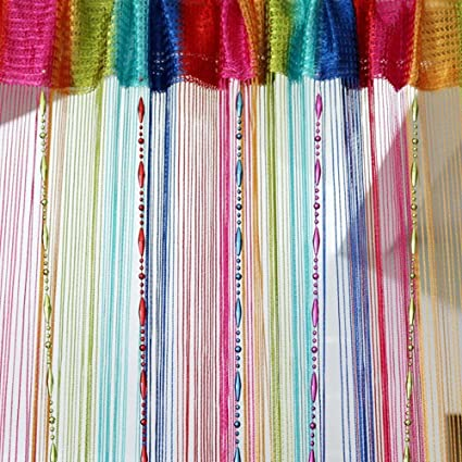 Genial Colorful Decorative String Line Tassel Curtain With Beads Door Window Panel  Room Divider,size: