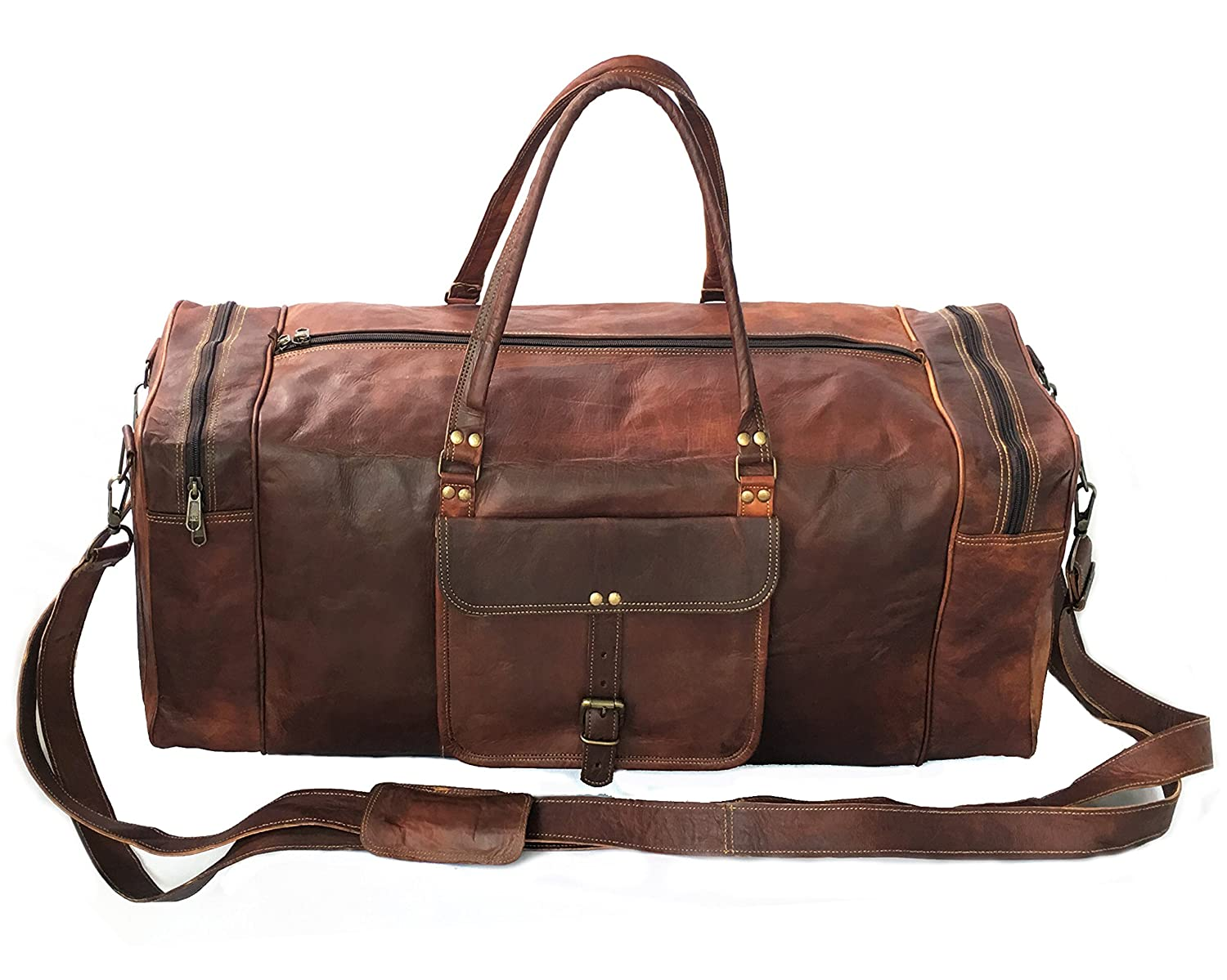 BROCODE 28 Inch Real Goat Vintage Leather Large Handmade Travel Luggage Bags in Square Big Large Brown bag Carry On