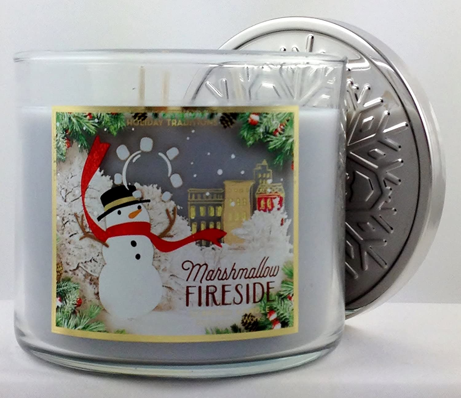 Bath /& Body Works Marshmallow Fireside Candle 3 Wick 14.5 Oz Holiday Traditions Limited Edition 2015
