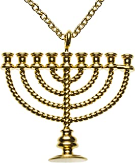 """product image for From War to Peace Menorah Gold-Dipped Pendant Necklace on 20"""" Rolo Chain"""