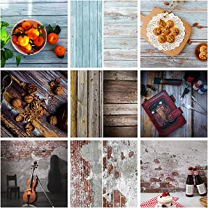 Meking 22x34in Flat Lay Photo Backdrop Paper, 3 Sheet Wood Wall Texture Food Photography Backdrops for Small Product Jewelry Cosmetics Makeup Table Top Shooting Props