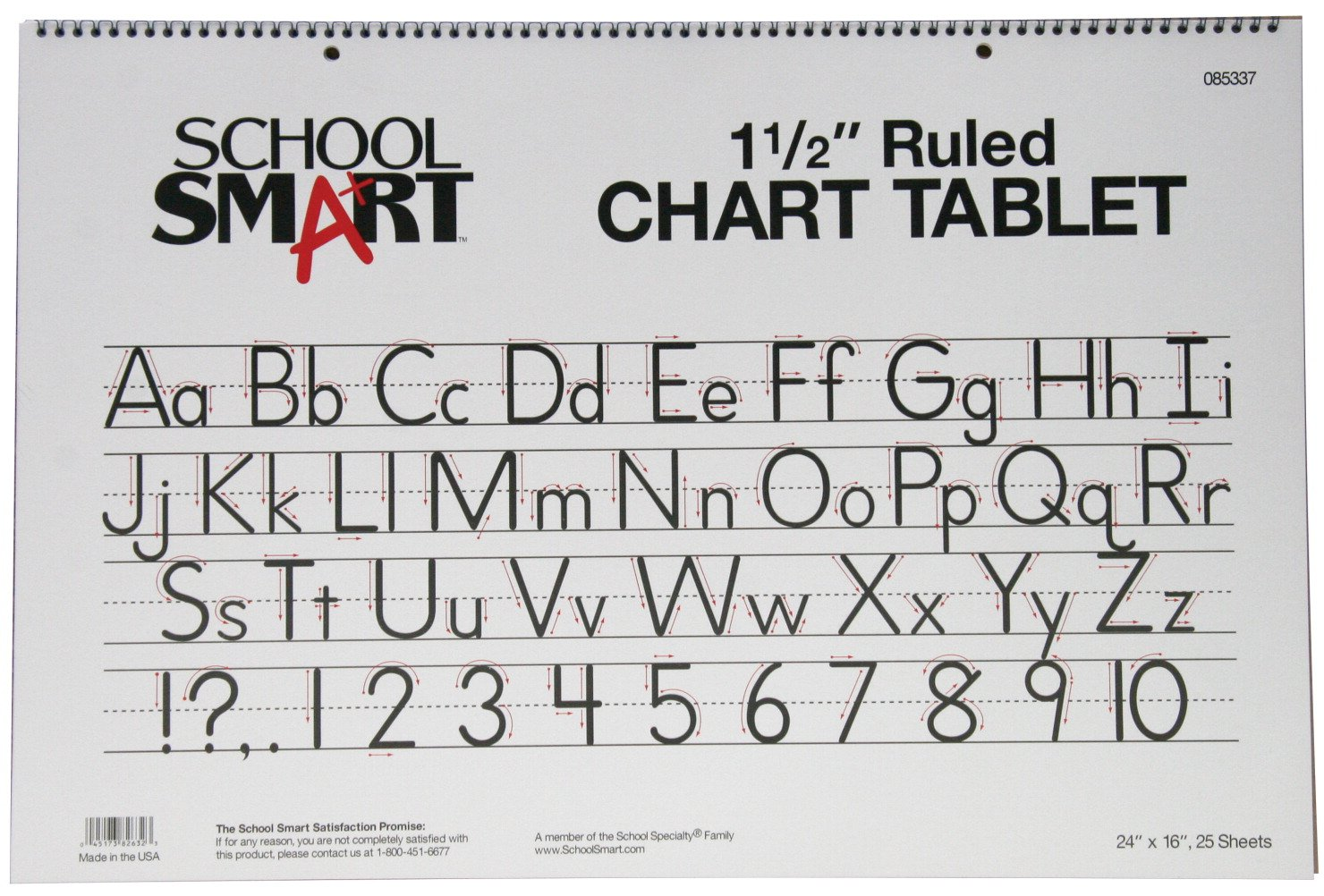 School Smart Chart Paper Pad, 24 x 16 Inches, 1-1/2 Inch Skip Line, 25 Sheets