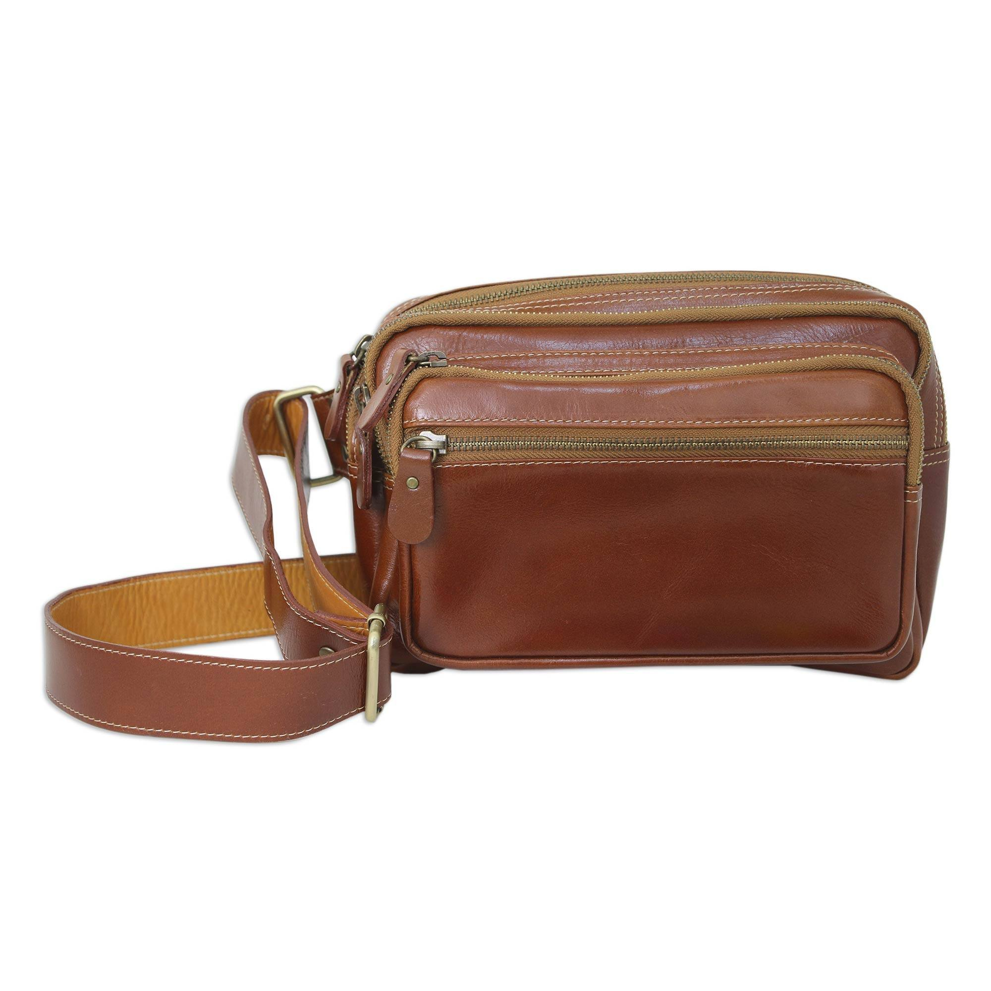 NOVICA Light Brown Leather Waist Pack, 'Let's Walk' by NOVICA