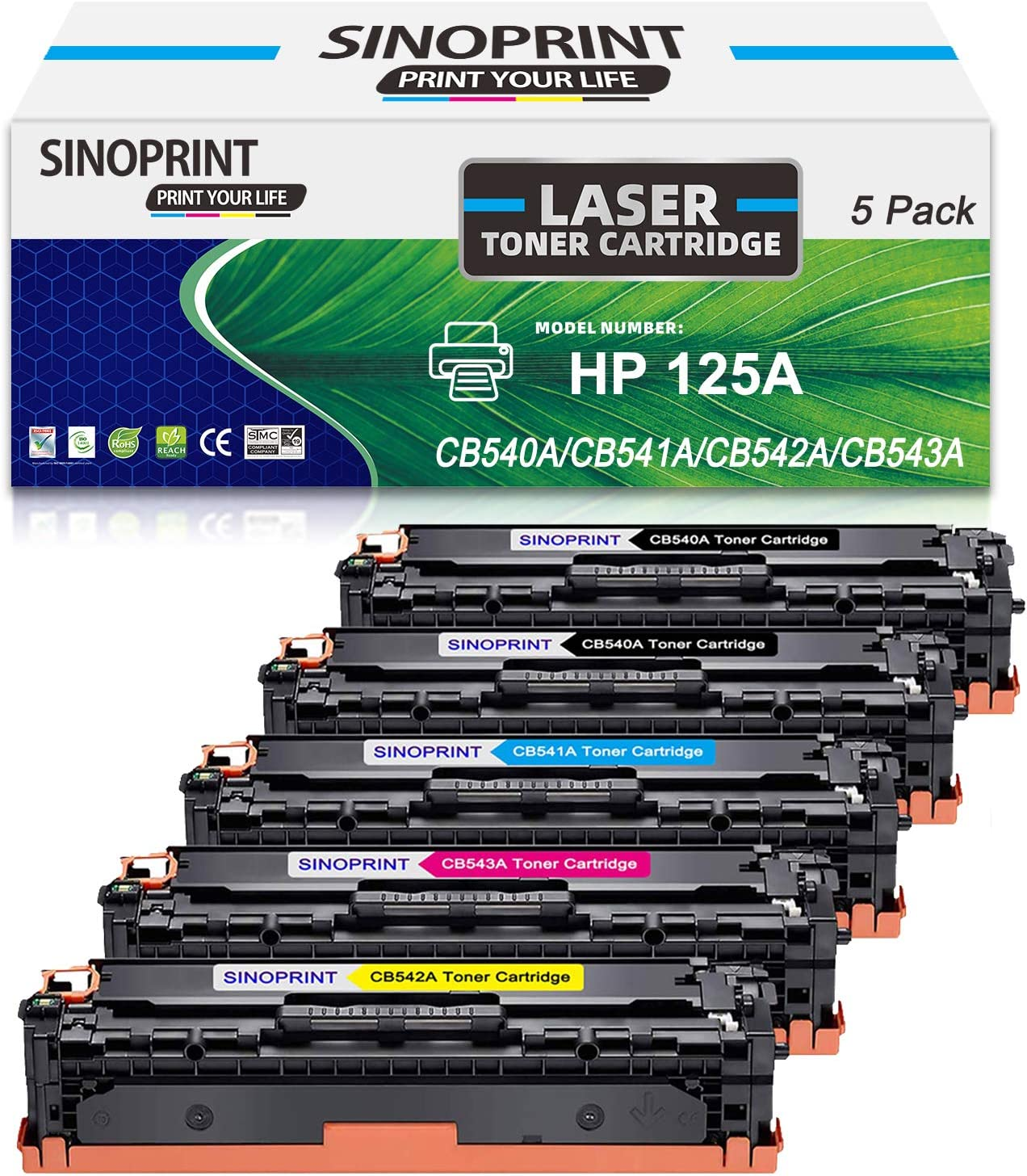 SINOPRINT 125A Compatible Toner Cartridge Replacement for HP 125A CB540A CB541A CB542A CB543A for HP Color Laserjet CP1215 CM1312nfi CP1518ni CP1515n CM1312 CP1513n CP1516n Printer (5-Pack)
