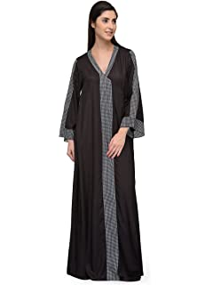 b9b0136fd4 Patrorna Blended Women s Wrap Nighty Night Dress Gown in Black (Size S-7XL