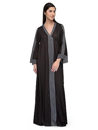 0dd5134638 Patrorna Blended Women s Wrap Nighty Night Dress Gown in Black (Size ...