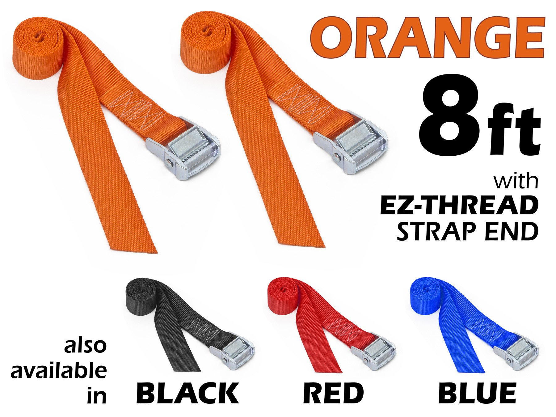 1½'' x 8ft PowerTye Made in USA Heavy-Duty Lashing Strap with Heavy-Duty Buckle, Orange, 2-Pack by Powertye