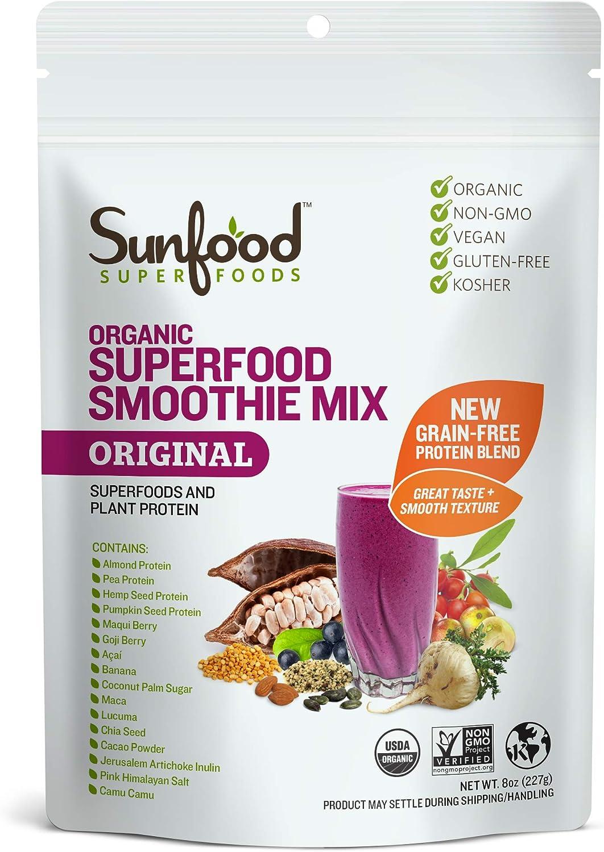 Sunfood Organic Superfood Smoothie Mix- Original Flavor | New Plant-Based Protein Blend (Pea, Hemp, Almond, Pumpkin) High Quality All-Natural Ingredients | Non-GMO, Vegan, Gluten Free- 8 oz Bag