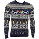 Mens Flashing Lights Christmas Jumper Reindeer Noses Fair Isle Nordic Slim Fit Navy White Colour LED Battery Operated