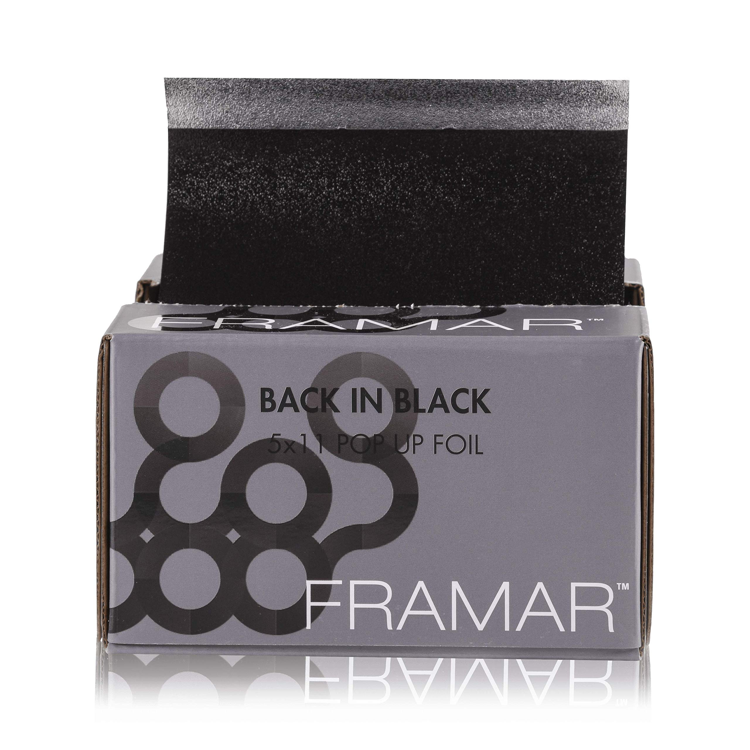 Framar Back In Black Pop Up Hair Foil, Aluminum Foil Sheets, Hair Foils For Highlighting - 500 Foil Sheets by Framar