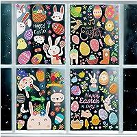 80 piezas de decoración de ventana de Pascua, lindos huevos de rábano de conejo, mariposa, zanahorias, calcomanías para…