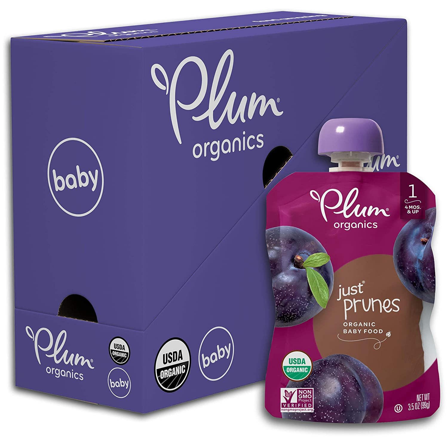 Plum Organics Stage 1 Organic Baby Food, Prune Puree, 3.5 Ounce Pouch (Pack of 6)