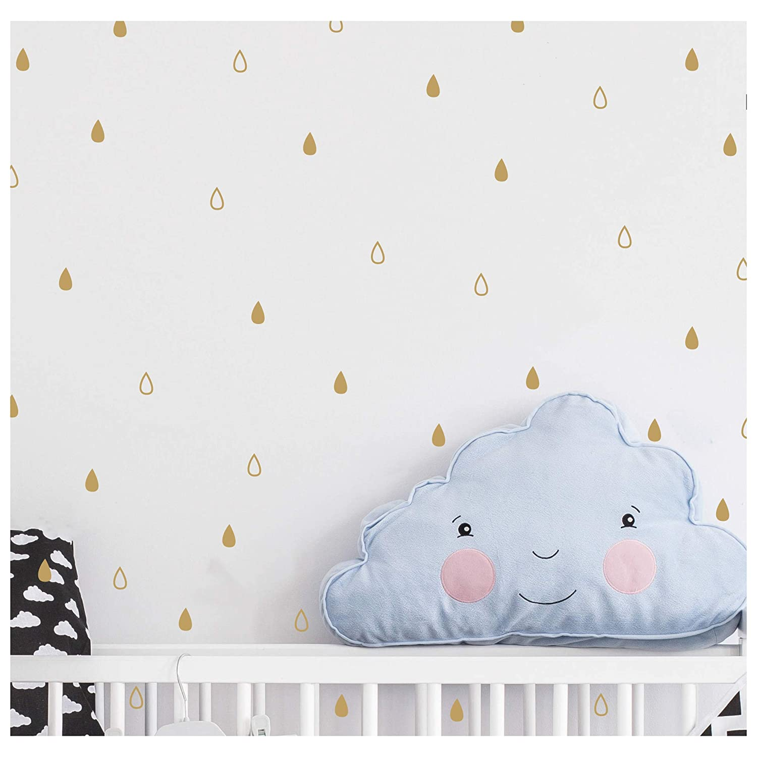 200 Pieces Set Raindrop Wall Decals Vinyl Stikers Nursey Kids Room Decor Baby Boy Girl Bedroom Art Decoration Design YMX07 Gold