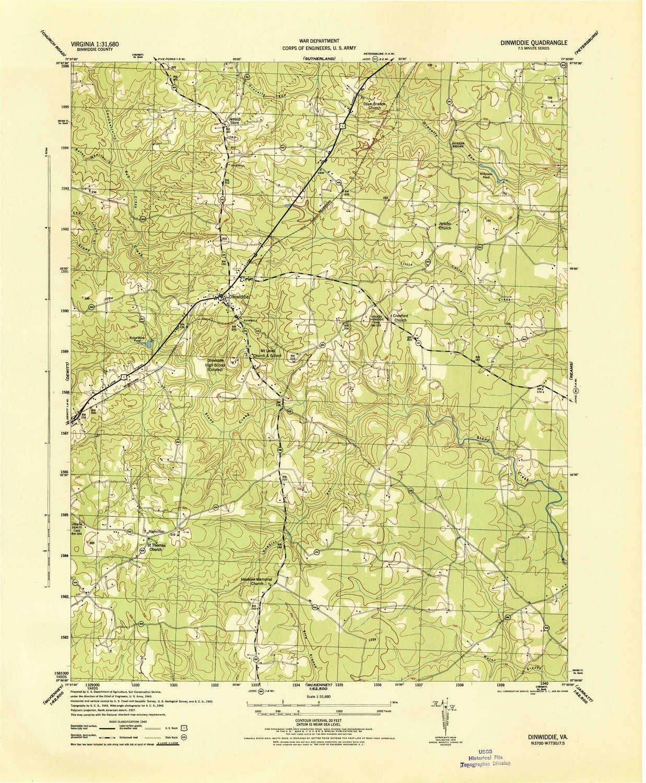 Amazon Com Yellowmaps Dinwiddie Va Topo Map 1 31680 Scale 7 5 X