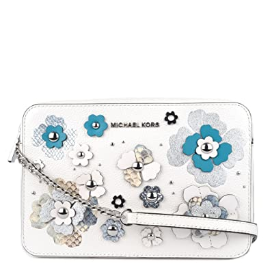 abfa6fcbba99 Michael Kors Large Jet Set Floral Embellished Crossbody OPWHT MULTI ...