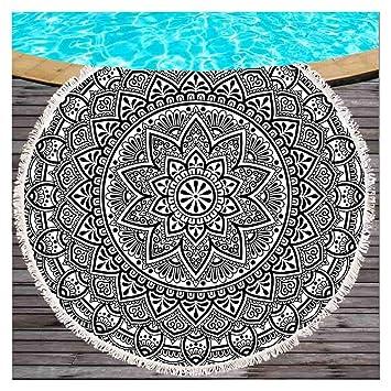 Lotus negras y blancas redondas playa lanzamiento India Buda Yoga Meditación redondas playa manta mandala böhmische