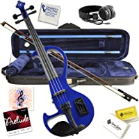 Electric Violin Bunnel Edge Outfit 4/4 Full Size (BLUE)- Carrying Case and Accessories Included - Headphone Jack - Highest Quality with Piezo ceramic pick-up By Kennedy Violins