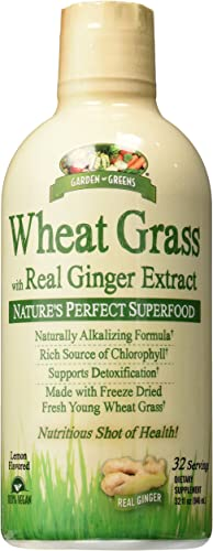 Garden Greens Wheat Grass Liquid with Real Ginger Extract, Nature s Perfect Superfood, 32 servings