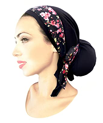 25ec29e859a Black Pre-Tied Head Scarf Stunning Red Rose Floral Chiffon Wrap ...