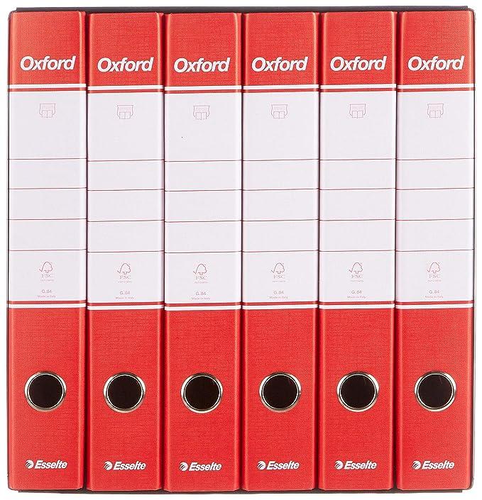 Esselte - Grupo de 6 archivadores Oxford con mecanismo de palanca y con funda, color rojo Gruppo da 4: Amazon.es: Oficina y papelería